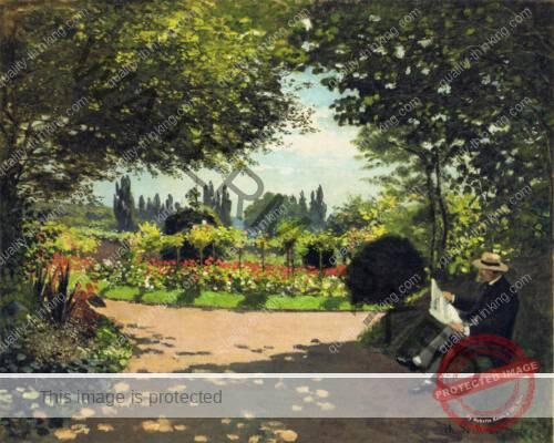 adolphe-monet-reading-in-the-garden